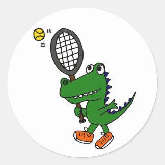 AH cocodrilo divertido que juega a tenis Pegatina Redonda