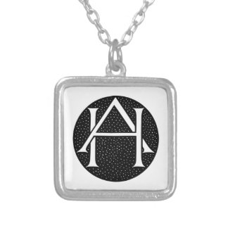 AH Monogram Square Pendant Necklace