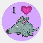 AH pegatinas de los Aardvarks del amor de I Pegatina Redonda