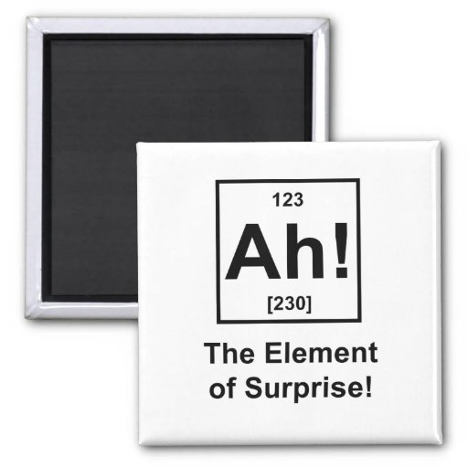 Ah! The Element of Surprise 2 Inch Square Magnet