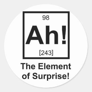 Ah the Element of Surprise Periodic Element Symbol Classic Round Sticker