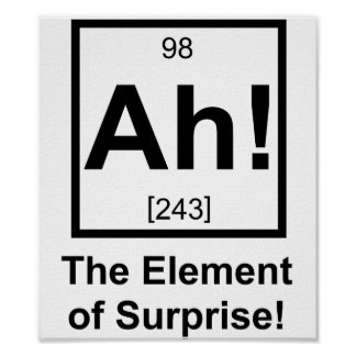 Ah the Element of Surprise Periodic Element Symbol Poster