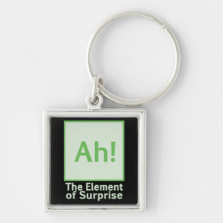 Ah! The element of surprise Silver-Colored Square Keychain