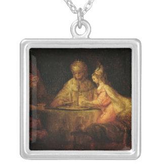 Ahasuerus , Haman and Esther, c.1660 Square Pendant Necklace