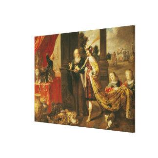Ahasuerus Showing his Treasure to Mordecai Gallery Wrap Canvas