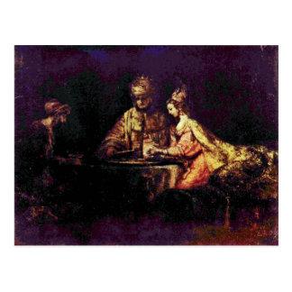Ahasuerus y Haman en el banquete de Esther Postal