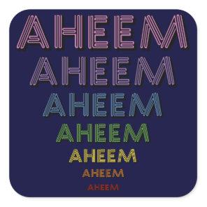 Aheem mantra square sticker