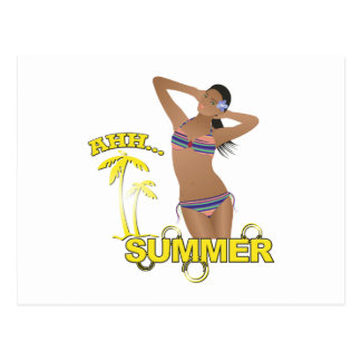 Ahh Summer Beach Bikini Girl Postcard