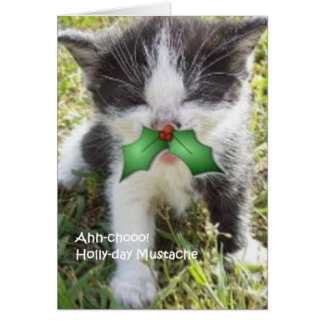 Ahhh-chooo Holly-day Mustache Card