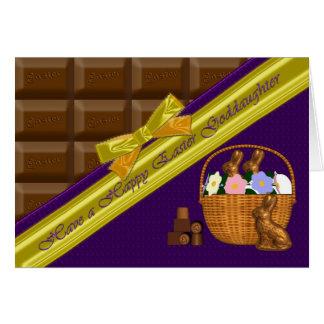 Ahijada feliz de Pascua, tarjeta del chocolate