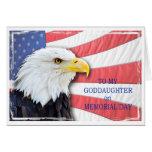 Ahijada, Memorial Day, con un águila calva Felicitaciones