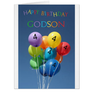 Ahijado, 4tos globos del cumpleaños tarjeta de felicitación grande