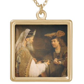 Ahimelech giving the sword of Goliath to David Square Pendant Necklace