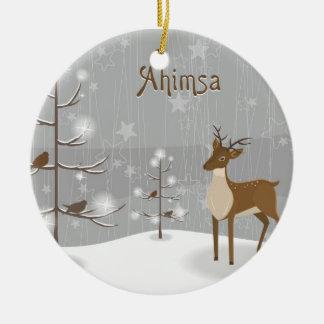 Ahimsa Holiday Reindeer Ceramic Ornament