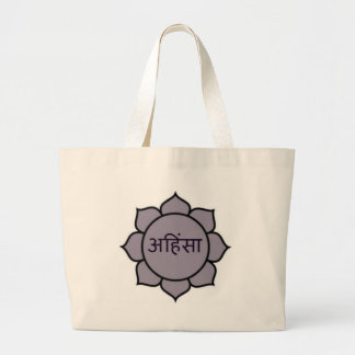 ahimsa lotus jpg canvas bag