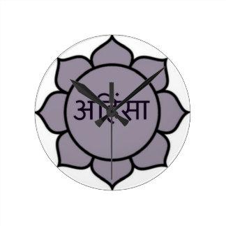 Ahimsa Lotus Purple Wall Clock