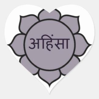 Ahimsa Lotus Purple Heart Sticker