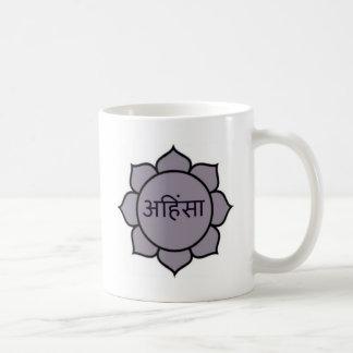 Ahimsa Lotus Purple Classic White Coffee Mug