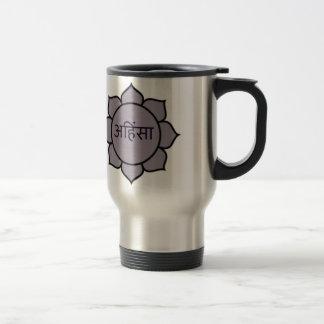 Ahimsa Lotus Purple 15 Oz Stainless Steel Travel Mug