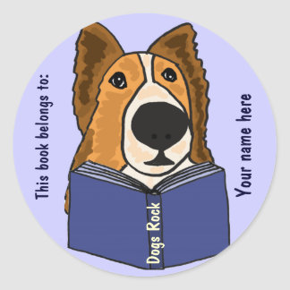 AHL- Sheltie Reading a Book Stickers
