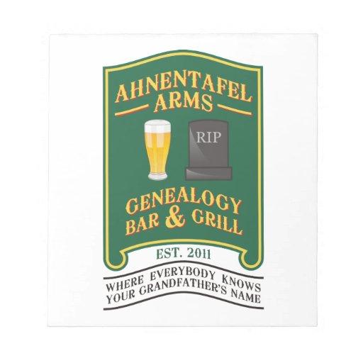 Ahnentafel Arms Genealogy Bar & Grill. Notepads