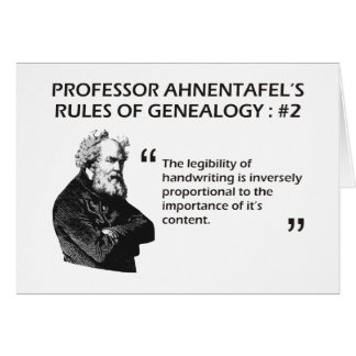 Ahnentafel's Rules of Genealogy #2 Card