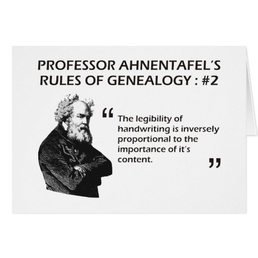 Ahnentafel's Rules of Genealogy #2 Greeting Card