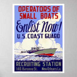 ¡Ahora aliste!  Los E.E.U.U. Guardacostas - WPA Poster