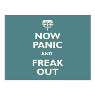 Ahora el pánico y Freak hacia fuera Tarjeta Postal