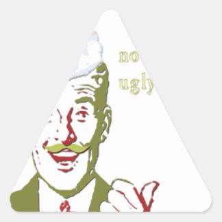 ¡Ahora el _That es _al suéter feo! Pegatina Triangular
