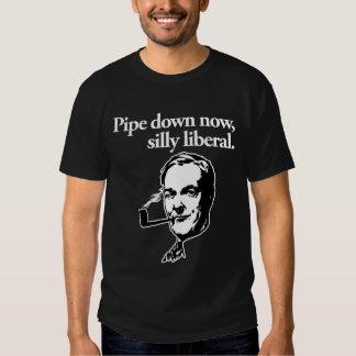 Ahora instale tubos abajo, camiseta liberal tonta remeras