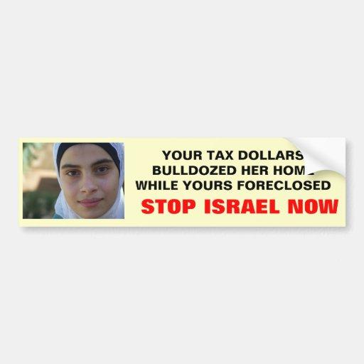 AHORA PARE ISRAEL PEGATINA DE PARACHOQUE