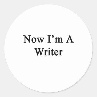Ahora soy escritor pegatina redonda