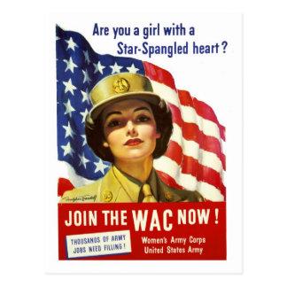 ¡Ahora únase al WAC! Poster de la guerra Postal