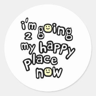 Ahora voy a mi lugar feliz con las caras pegatina redonda
