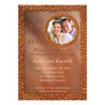 Ahora y para siempre invitación de bronce del boda