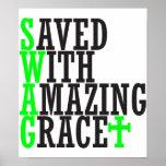 Ahorrado con el poster asombroso del cristiano del