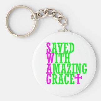 Ahorrado con llavero asombroso del cristiano del S