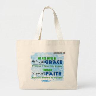 Ahorrado por la tolerancia con la fe bolsa tela grande