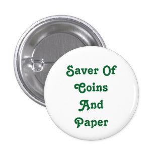 Ahorrador de monedas y del botón de papel pin redondo de 1 pulgada