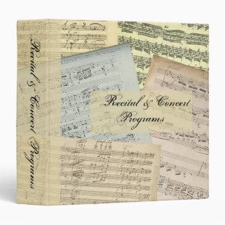 "Ahorrador del programa del manuscrito de la música carpeta 1 1/2"""