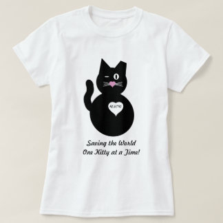 Ahorrando el mundo, un gatito a la vez playeras
