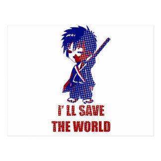 Ahorraré al muchacho del samurai del mundo tarjetas postales