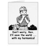 ¡Ahorraré el mundo… con mi armónica! Felicitación