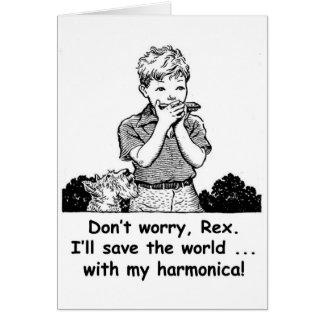 ¡Ahorraré el mundo… con mi armónica! Tarjeta De Felicitación