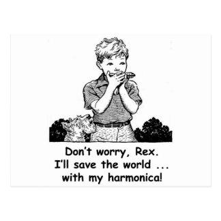 ¡Ahorraré el mundo… con mi armónica! Tarjeta Postal