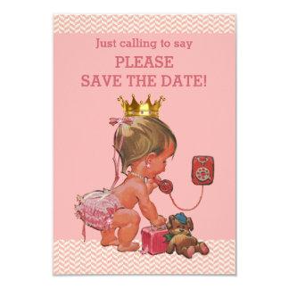 """Ahorre a la princesa linda de la fecha en el invitación 3.5"""" x 5"""""""