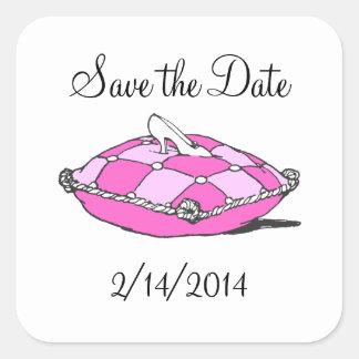 Ahorre a la princesa Pink Sticker de Cenicienta de Calcomania Cuadradas Personalizadas
