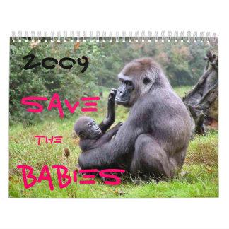 Ahorre a los bebés de la fauna calendarios de pared