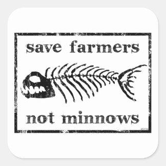 Ahorre a los granjeros pegatina cuadrada
